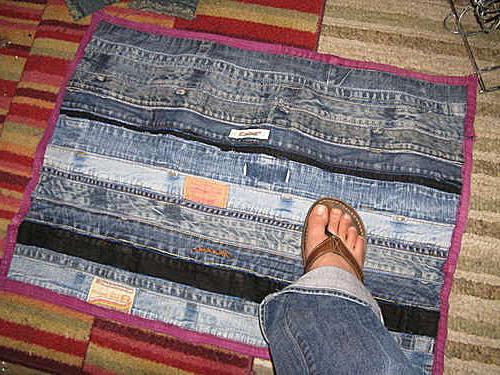 Вязание из джинсовых полосок крючком. Коврик из старых джинсов своими руками